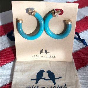 Turquoise resin hoop earrings